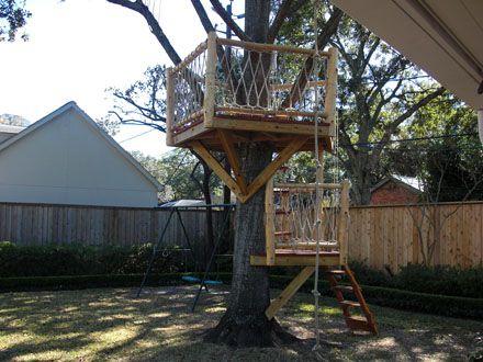 Custom Redwood And Cedar Tree House Like This Platform For - Backyard treehouses