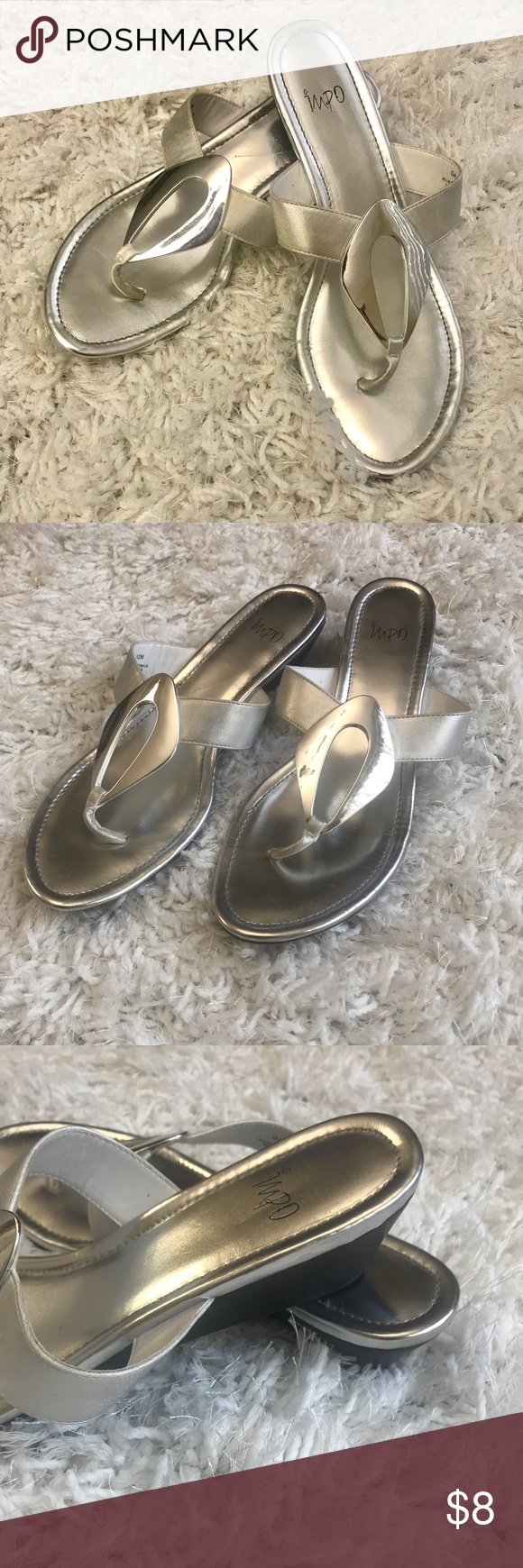 24e51d19d Impo Brand Sandal Gray and silver sandal with a 2 in wedged heel. Scratch  in the foot of the heel as pictured. Impo Shoes Sandals