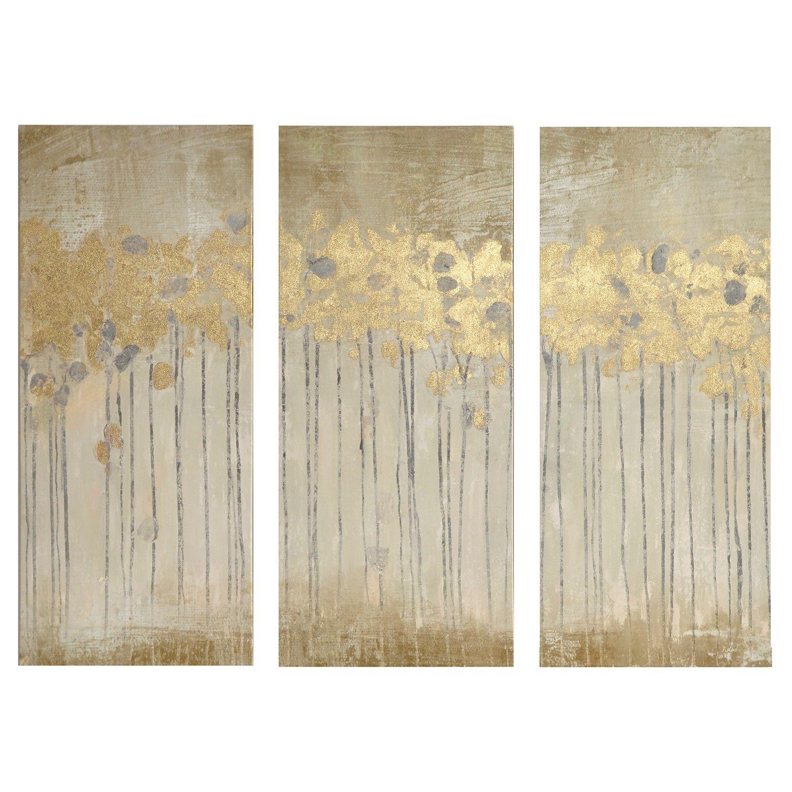 Gel Coat Canvas with Gold Foil Embellishment 3 Piece Set | Triptych ...