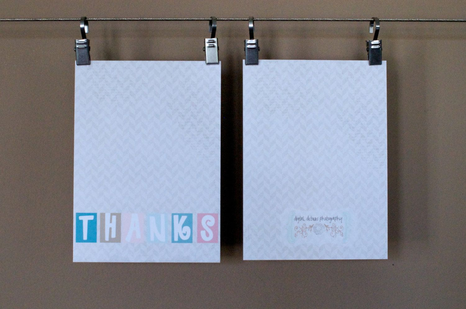 Flat  Custom Printed Thank You Cards - Personalized Greeting Cards - Choose your colors - (Set of 5). $7.00, via Etsy.
