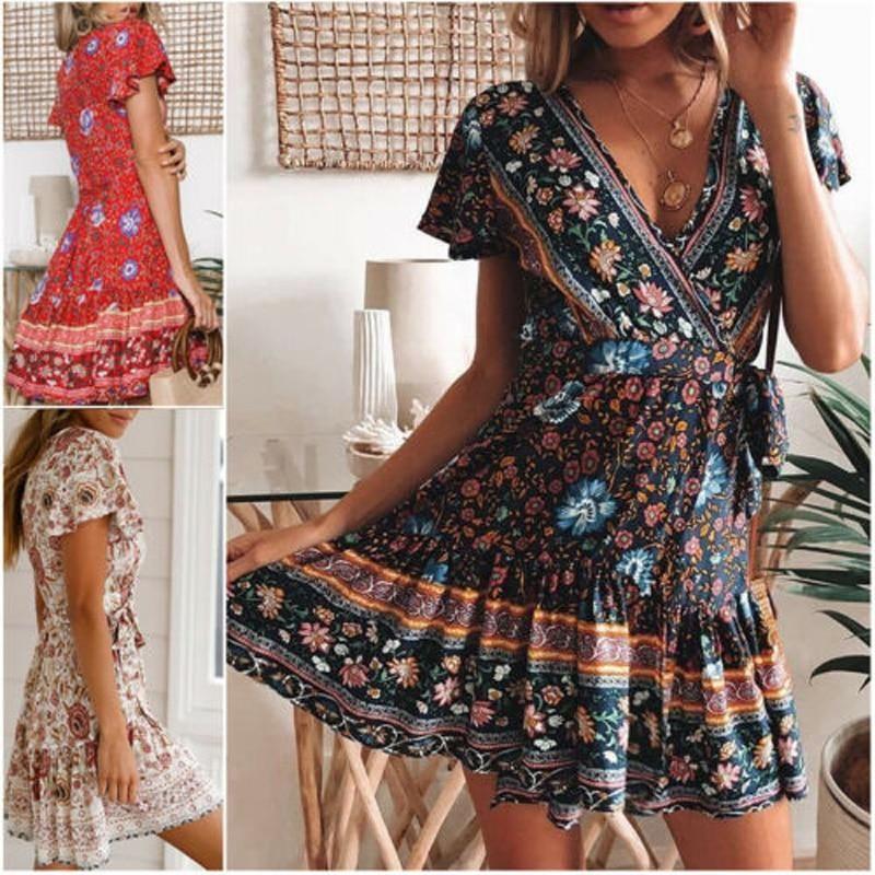 Women Casual Summer Beach Party Short Mini Dress Ladies Bohemian Bandage Dress