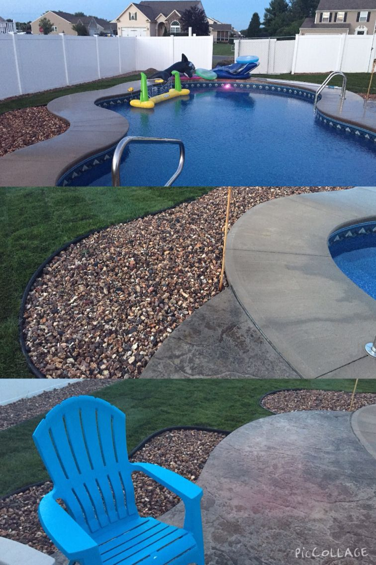Stamped Concrete, Timberlite Stone, Sod, Syracuse Pool