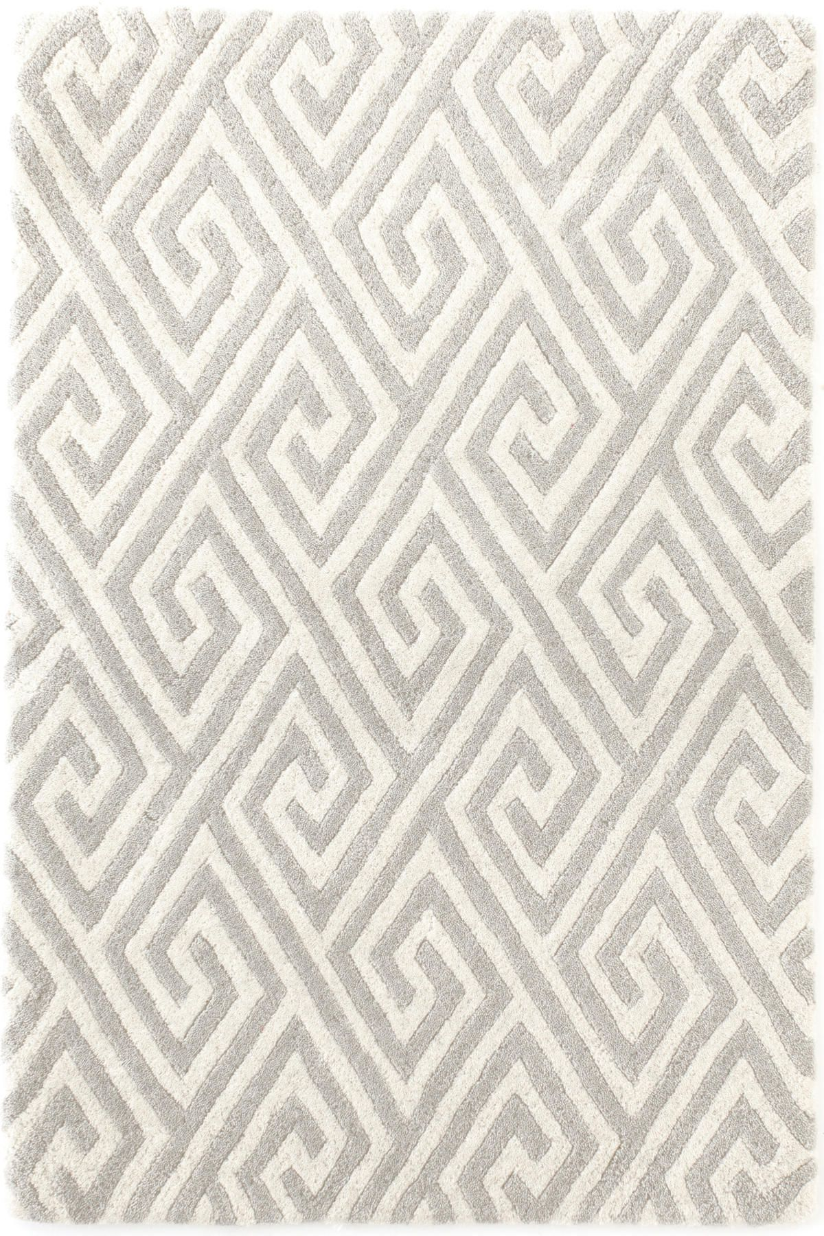 Fretwork Grey Tufted Carved Wool Rug
