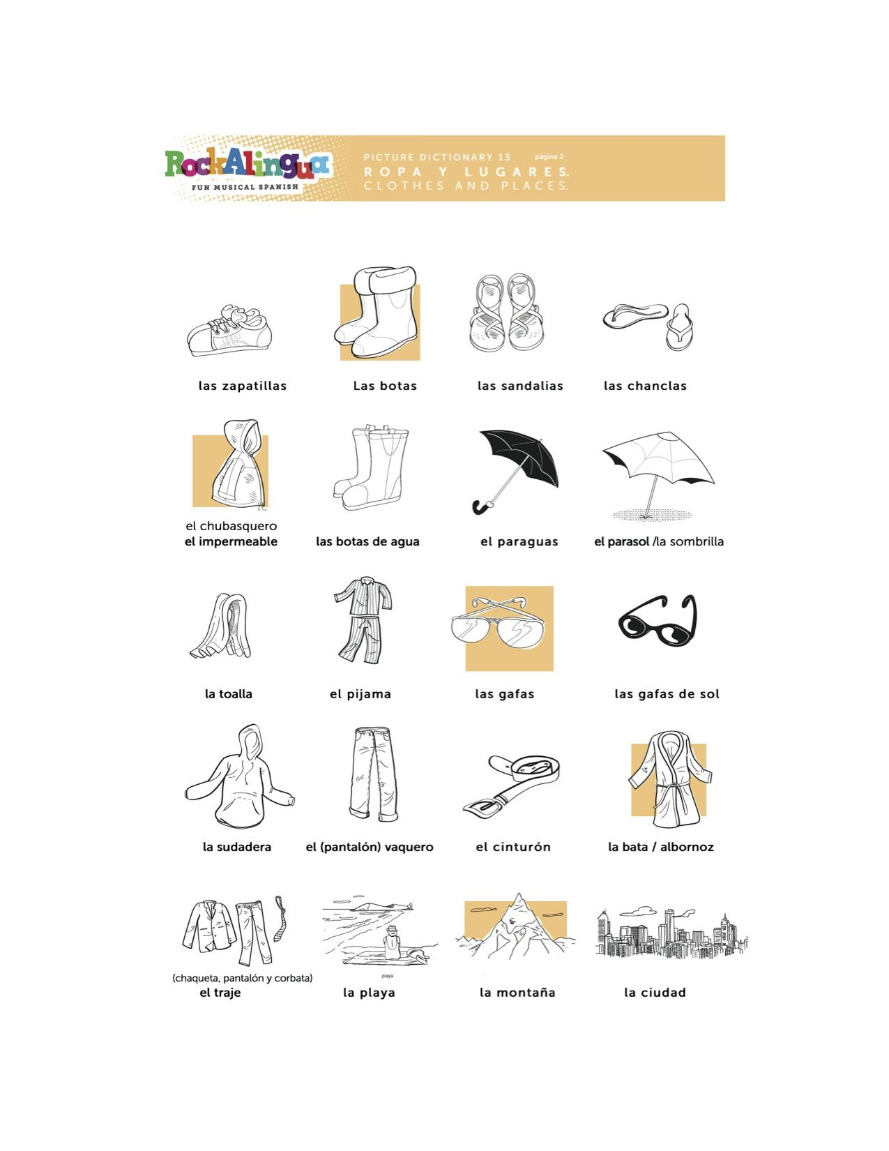 Spanish Worksheet about clothes places and weather more Spanish – Spanish Weather Worksheet