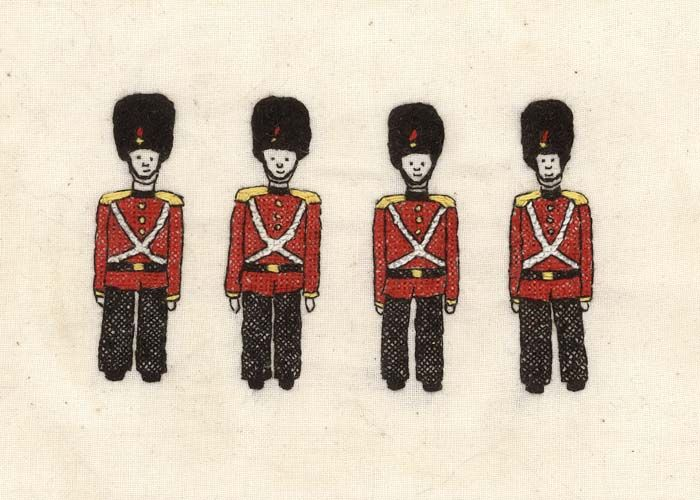 Embroidered Red Soldiers by Jade Marczynski