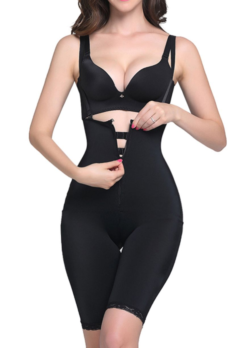4523c1858a2e7 Front Zip And Clips Latex Full Body Shaper With Straps Latex  Shaper Shapewear Sexy Lingeire