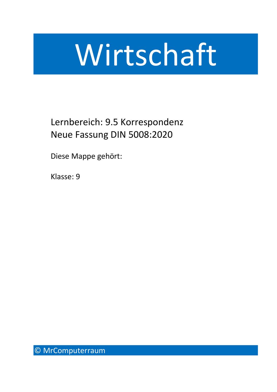 Korrespondenz Neue Din 2020 Unterrichtsmaterial Im Fach Wirtschaft In 2020 Unterrichtsmaterial Neue Wege Mittelschule