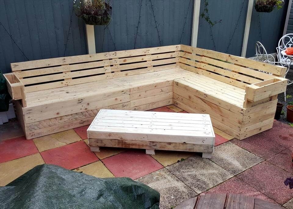 Pallet Corner Sofa And Table Set 101 Pallets Diy Pallet Sofa How To Make Corner Sofa Pallet
