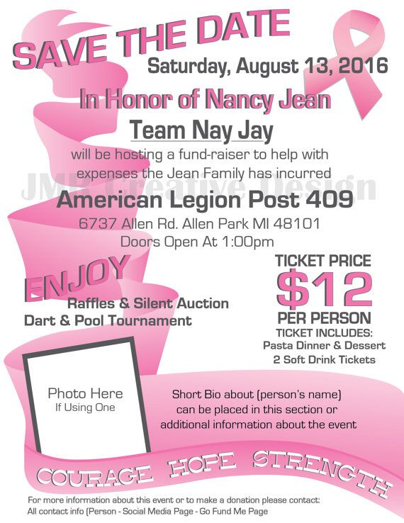 Breast Cancer Benefit Flyer \/ Courage Hope by JMRCreativeDesign - benefit flyer template