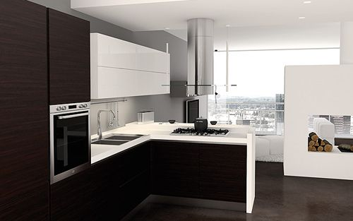 Tall cabinets and bottom cabinets same colour for Italian modular kitchen