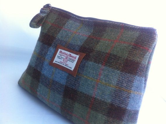 1169f26f9dec Harris Tweed men s toiletry shave wash bag made in Scotland gift for him men  man tartan plaid shower