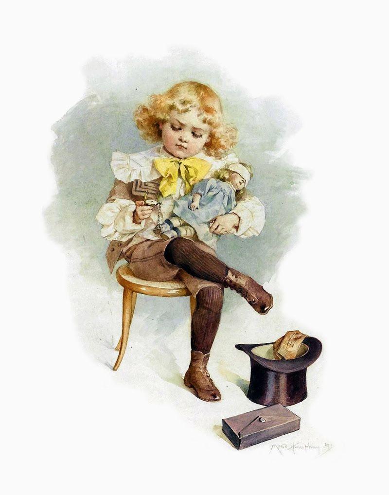 Воспитателю детского, дети с игрушками на старинных открытках