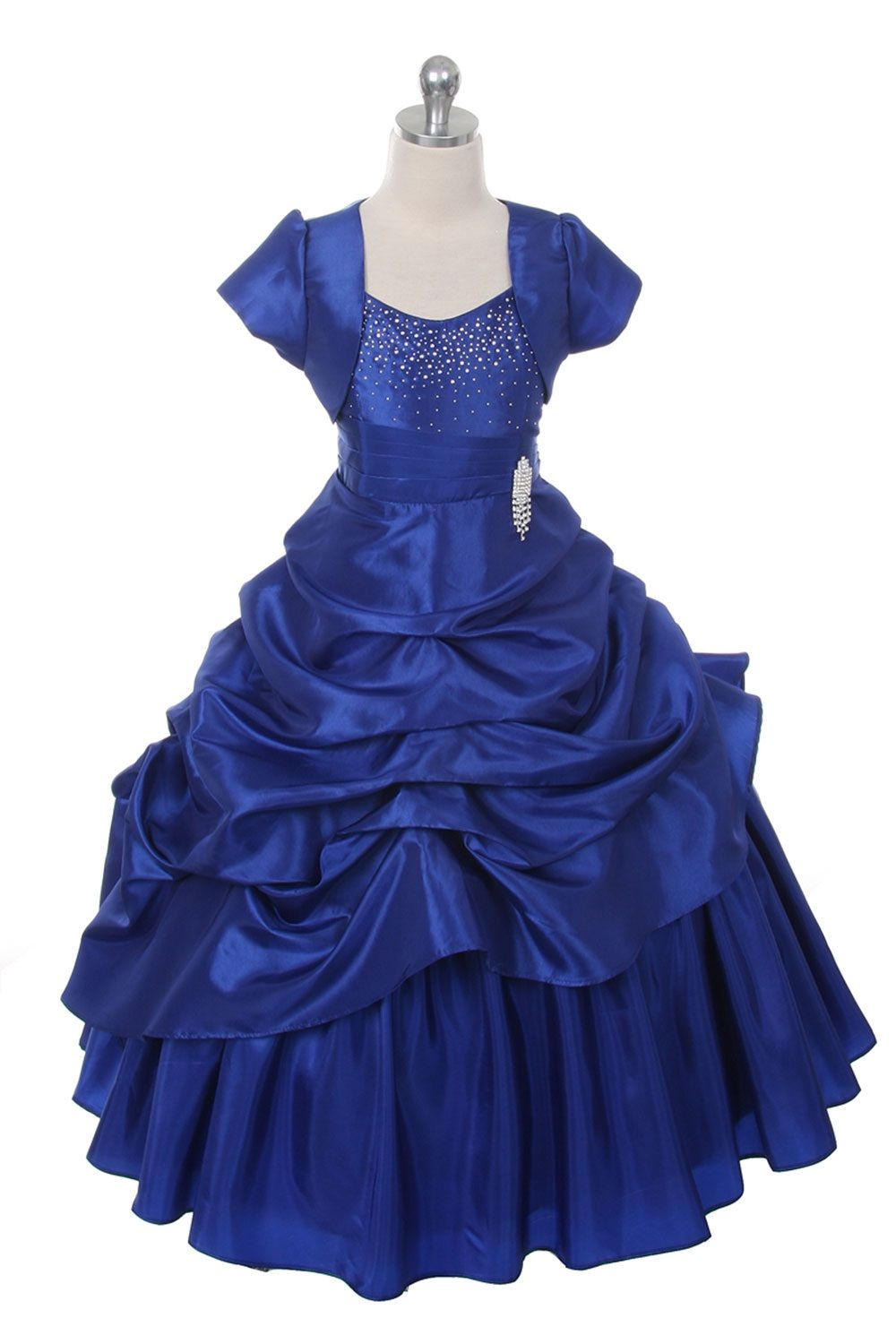 7569aa43678 Clearance Aqua Extravagent Taffeta Pick-Up Dress with Marching ...