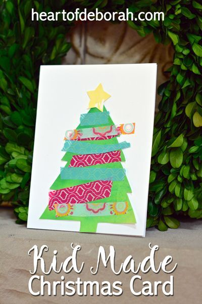 Kid Made Christmas Card Using Watercolor  Washi Tape Unique Kids