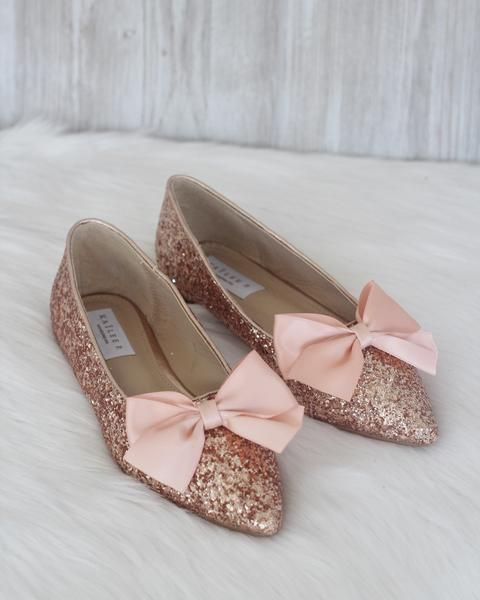 a13e655b172 Women Glitter Shoes - ROSE GOLD Pointy Toe Rock Glitter Flats with Satin Bow