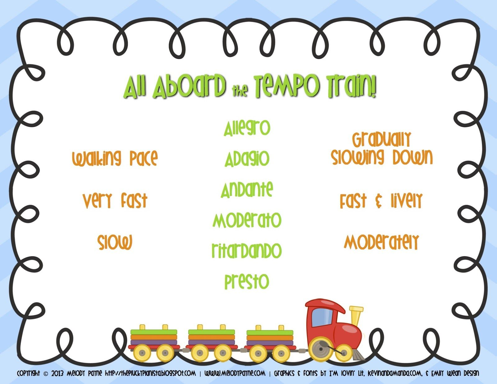 All Aboard The Tempo Train Freebie Worksheet Melody Payne