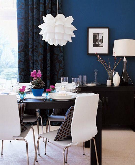 denim blauwe muur home apartment decor dining room blue blue accent walls blue rooms. Black Bedroom Furniture Sets. Home Design Ideas