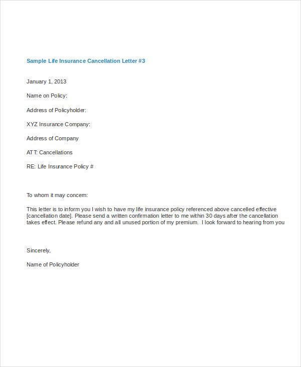 Life Insurance Cancellation Letter With Sample Cover Lsm Team Was
