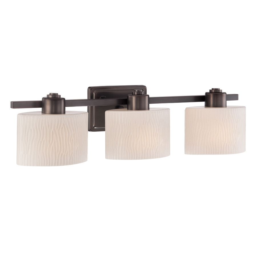 Allen Roth 3 Light Grayson Copper Bronze Bathroom Vanity Light