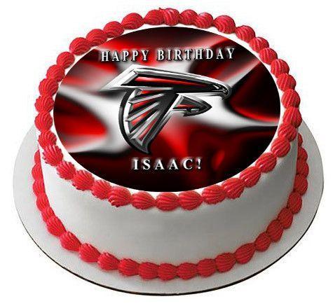 Atlanta Falcons 2 Edible Birthday Cake Topper OR Cupcake Topper