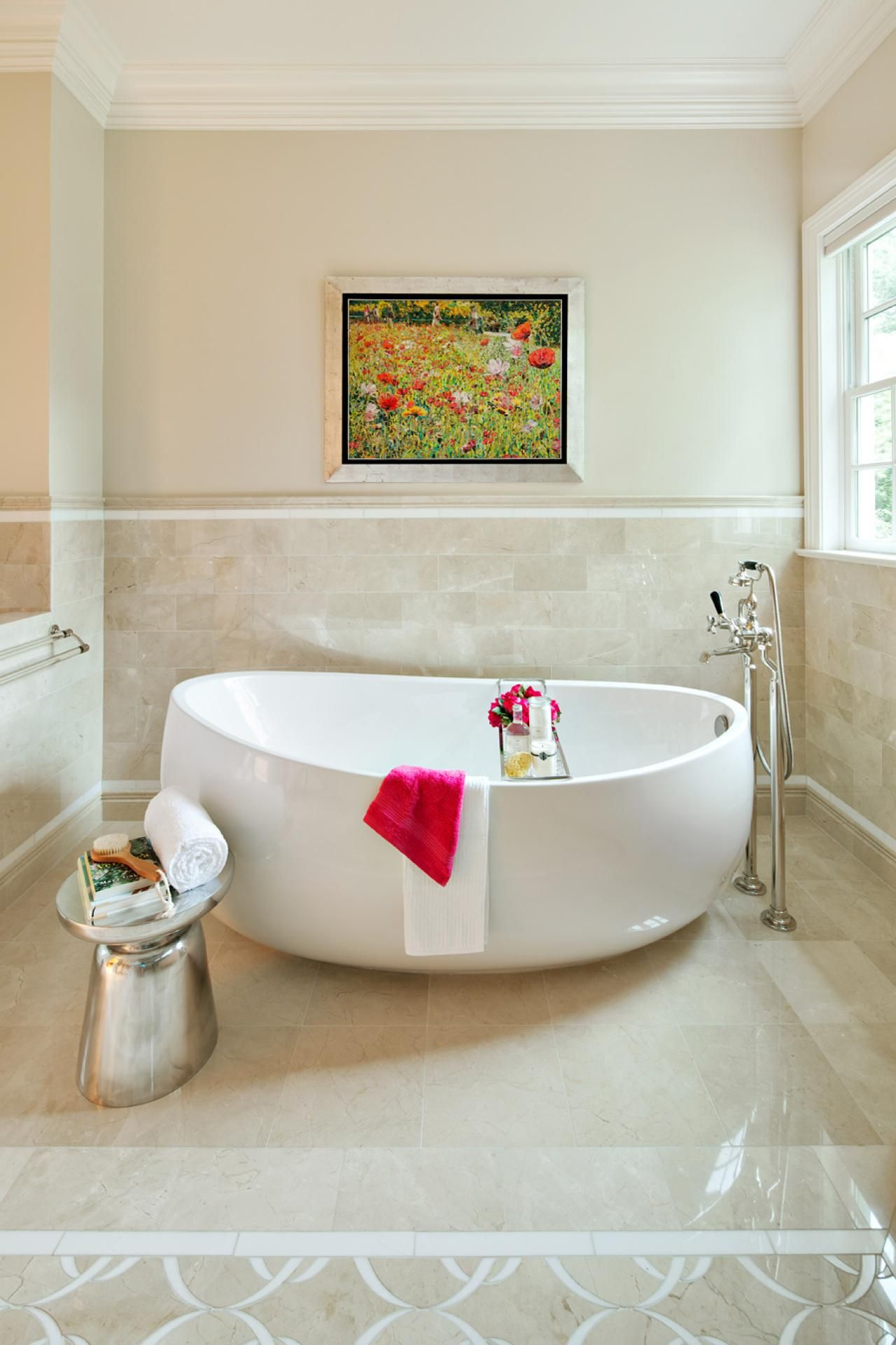 Garden tub decor  A large oval soaking tub  neutral walls partially tiled walls and