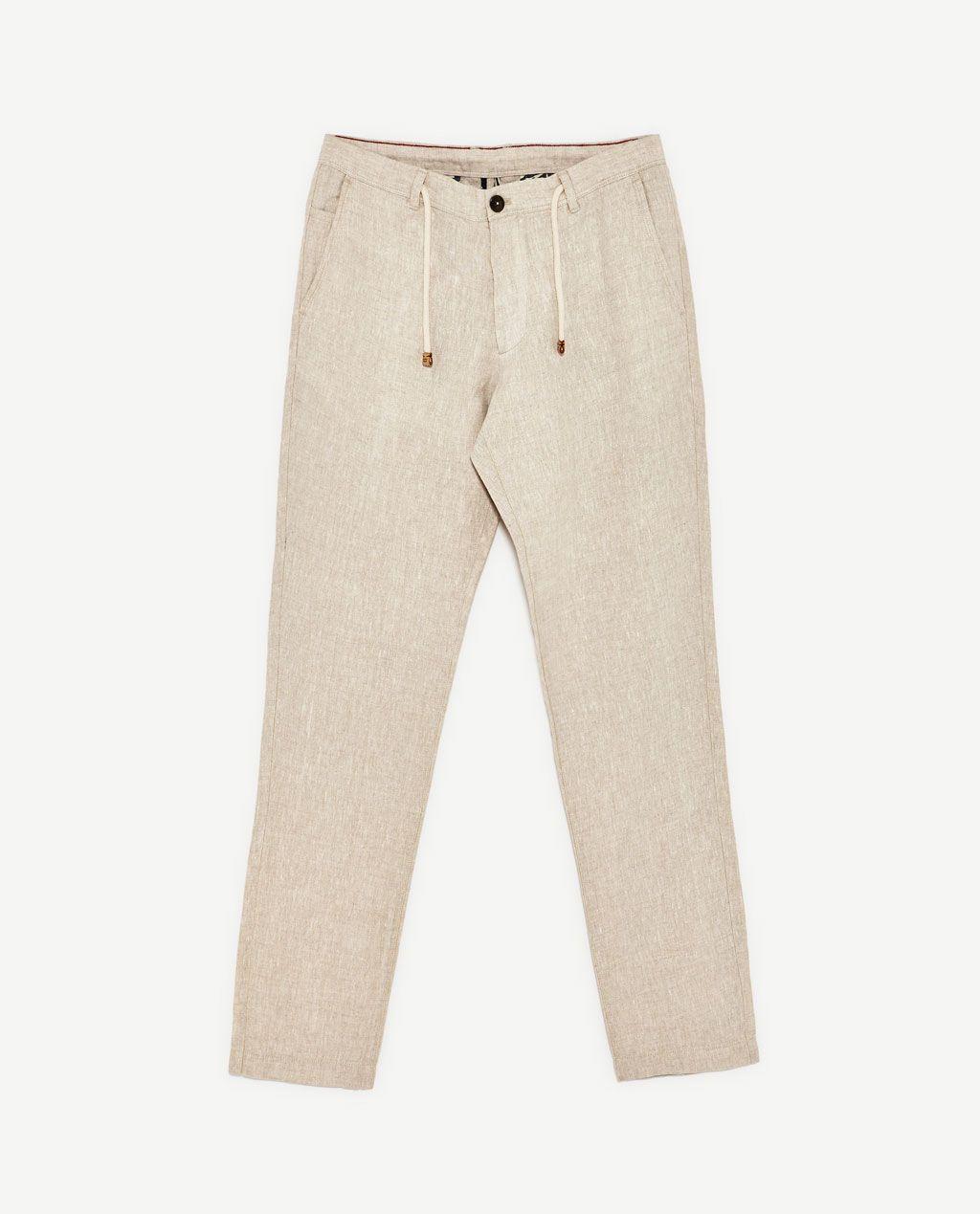 Imagen 6 De Pantalon Basico Lino De Zara Pantalones De Lino Hombre Ropa De Hombre Pantalones De Lino