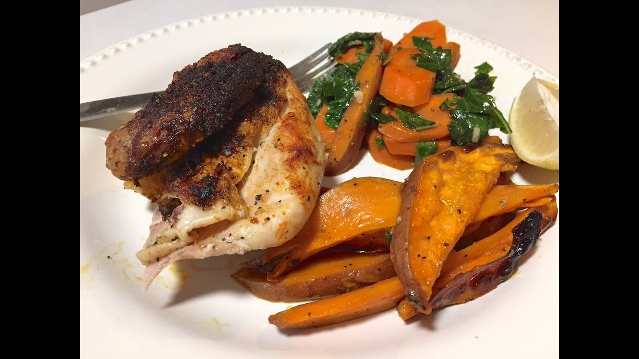 Blue apron youtube - Bbq Roasted Chicken With Maple Sweet Potato Wedges Collard Greens A Blue Apron Recipe