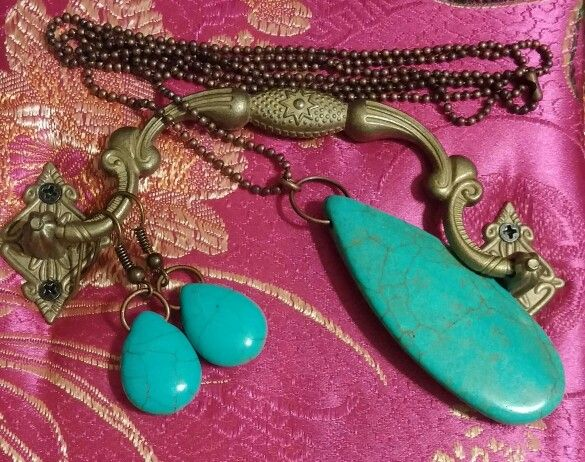 Turquoise & Vintage Brass Earrings & Necklace