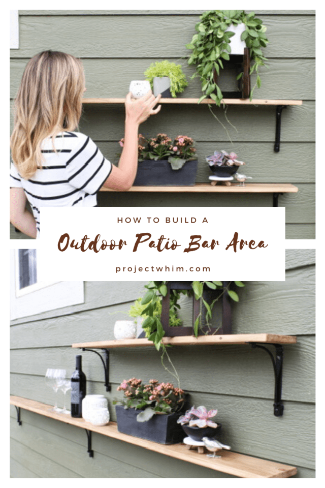How to build an outdoor patio bar cheaply and easily.  DIY Home Projects, DIY Blogger, DIY Outdoor Bar Area for Entertaining, Back Patio Shelves, DIY Shelves for Back Porch, How to be a great Host, #DIYblog #DIYPatioBar #OutdoorDecor #BackPatioDecor #DIYHomeProject #MomBlogger #DIYHomeDecor #OutdoorPatioIdeas #HomeDecorIdeas