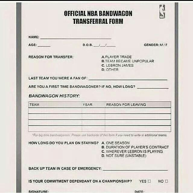 Official NBA Bandwagon Transferral Form | Sports | Pinterest | NBA