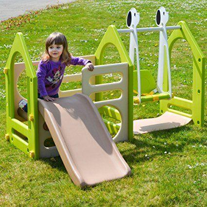 LittleTom Kinder Spielhaus mit Rutsche Schaukel 155x135 cm - spielhaus garten kunststoff smoby