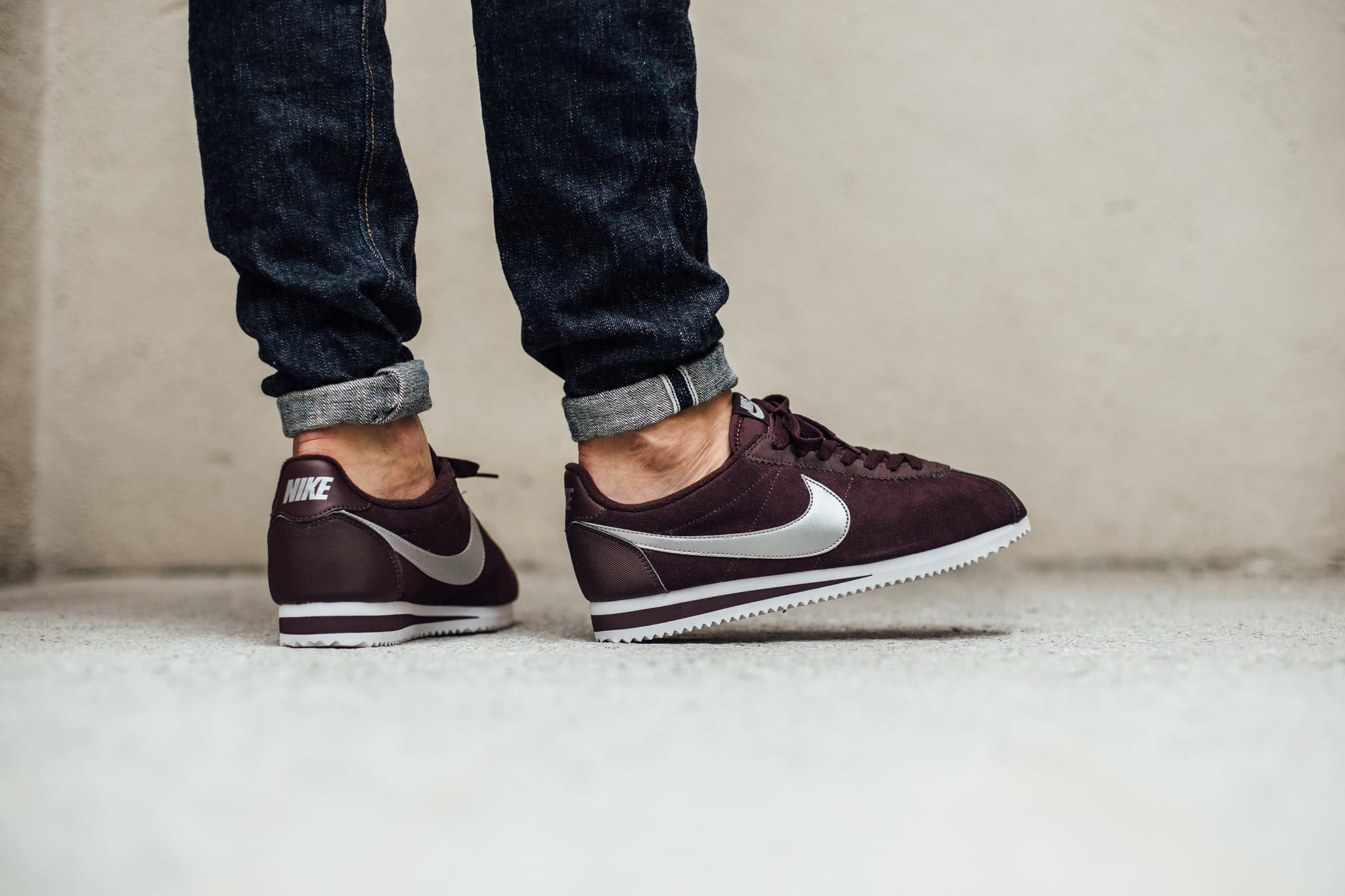Nike Classic Cortez Leather Mahogany Metallic Silver White Nike Classic Cortez Leather Retro Sneakers Fresh Shoes