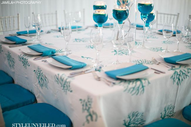 Turquoise And White Wedding Table Decor J Morgan Flowers Jamilah Photography Via Styleunveiled