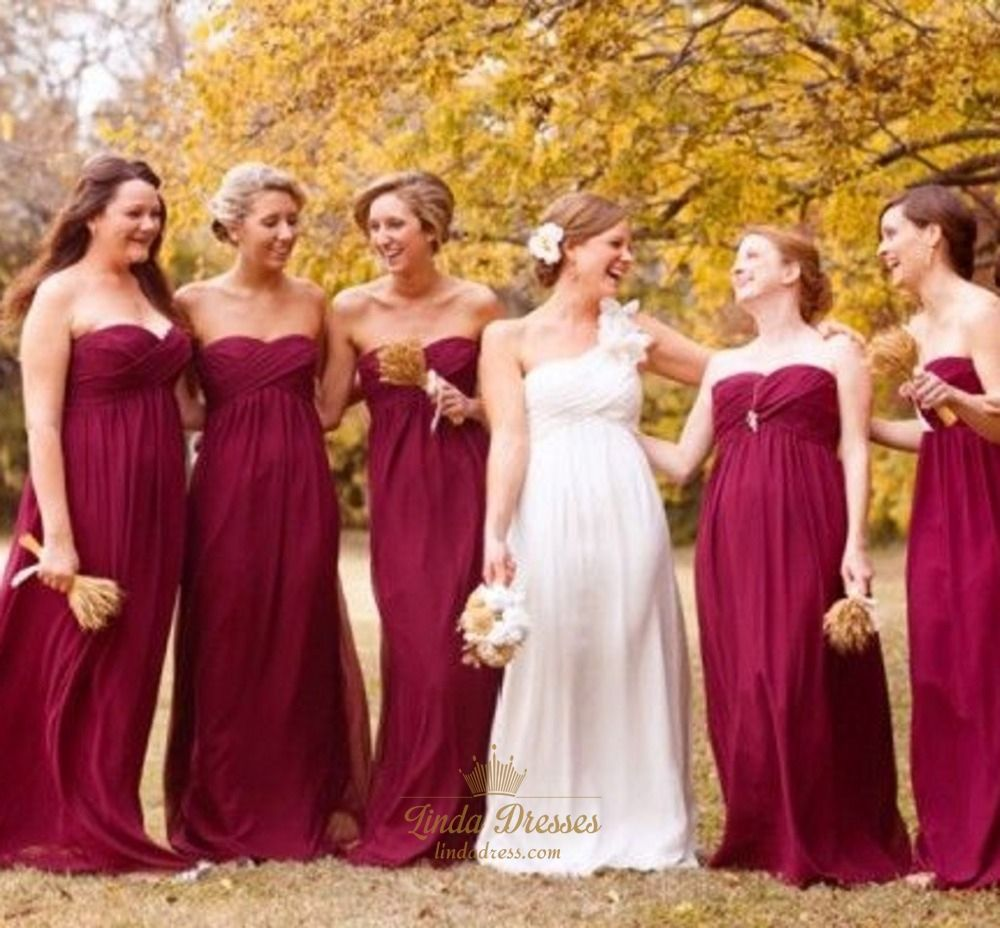Lindadress offers high quality maroon long strapless empire cranberry bridesmaid dresses love the color and even the wheat bouquets ombrellifo Gallery