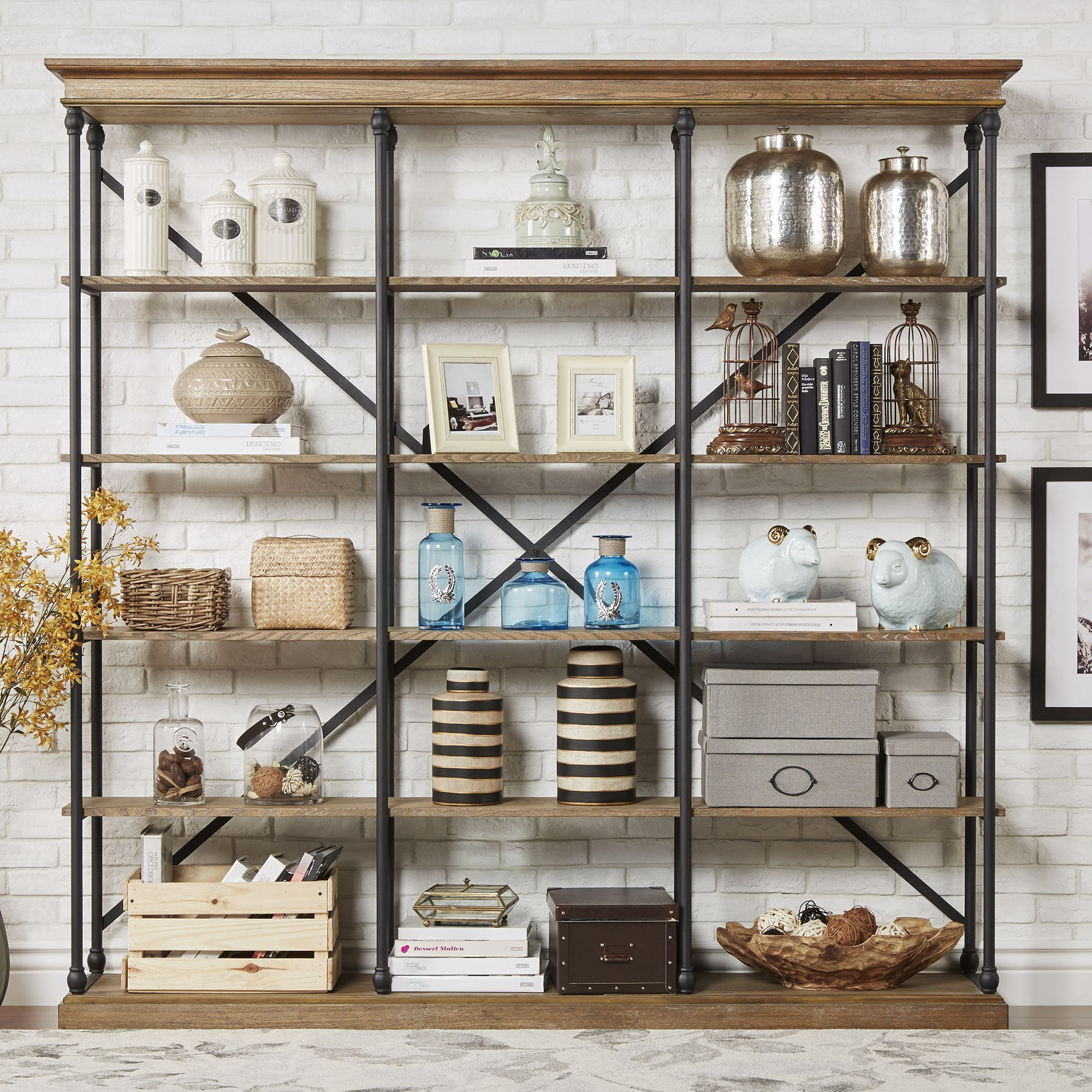 Home Weston Home Rustic Bookshelf Bookcase Decor
