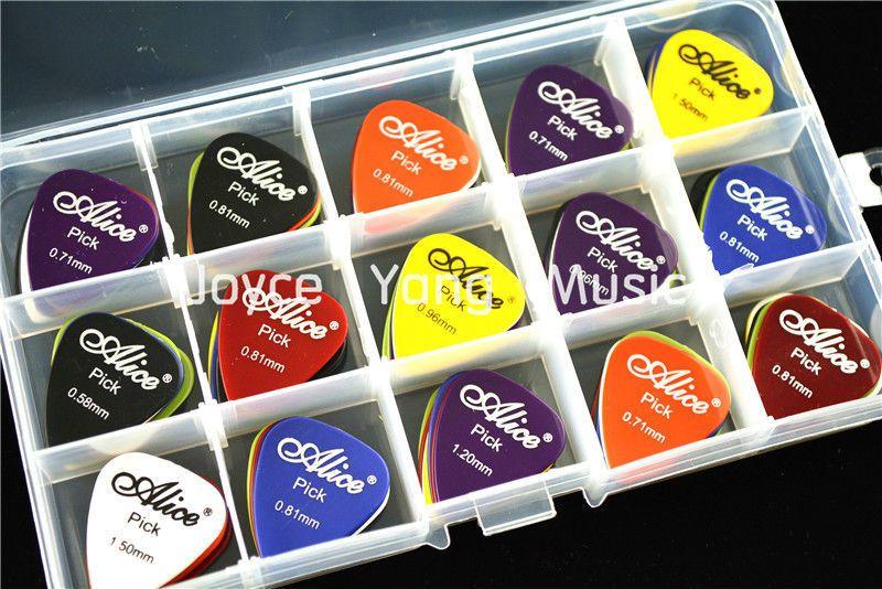 100 개 앨리스 어쿠스틱 기타 Plectrums + 1 큰 플라스틱 추천 홀더 케이스 상자 무료 배송