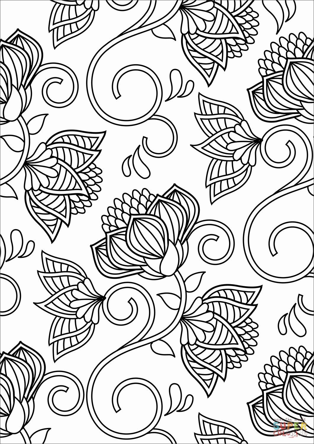 Flowers Coloring Sheets Free Printable Best Of Lotus Pattern Coloring Page Pattern Coloring Pages Flower Coloring Sheets Abstract Coloring Pages