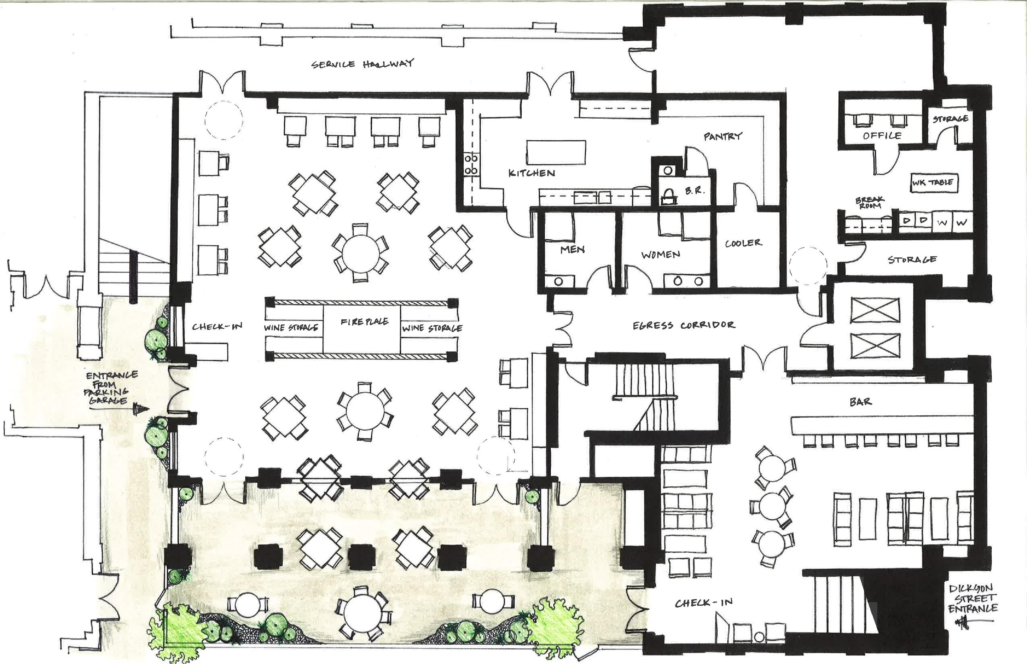 Architecture design inspired by f plan for How to create a restaurant floor plan