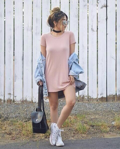 cute baby pink dress with jeans jacket