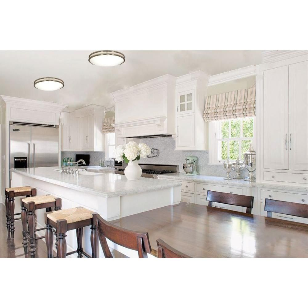 Great Ways For Lighting A Kitchen: Green Matters Bertha 3-Light Brushed Nickel Flush Mount HD
