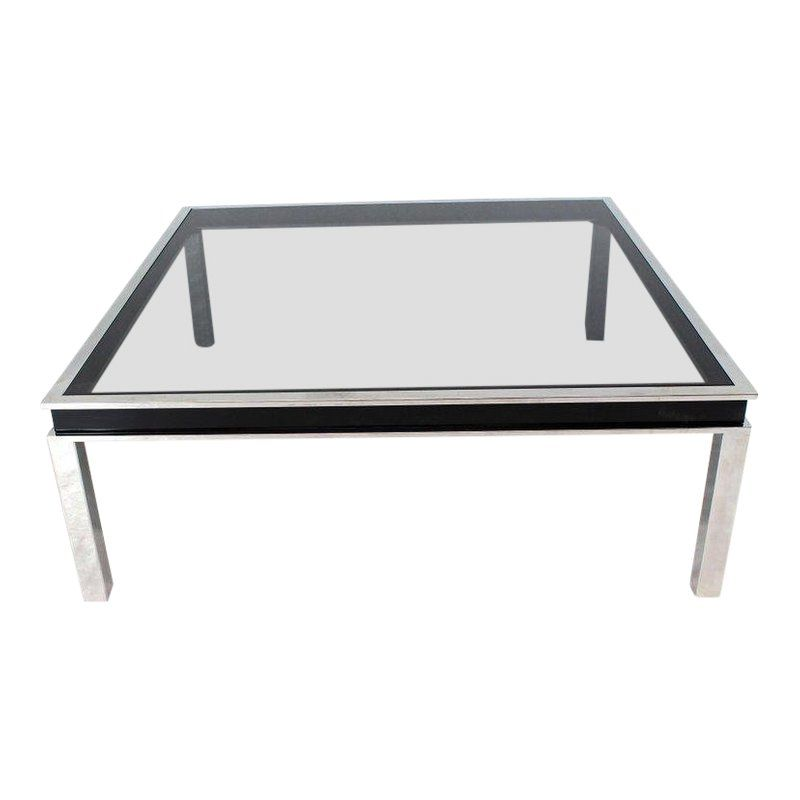 1970s Extra Large Polished Chrome Square Smoked Glass Coffee Table