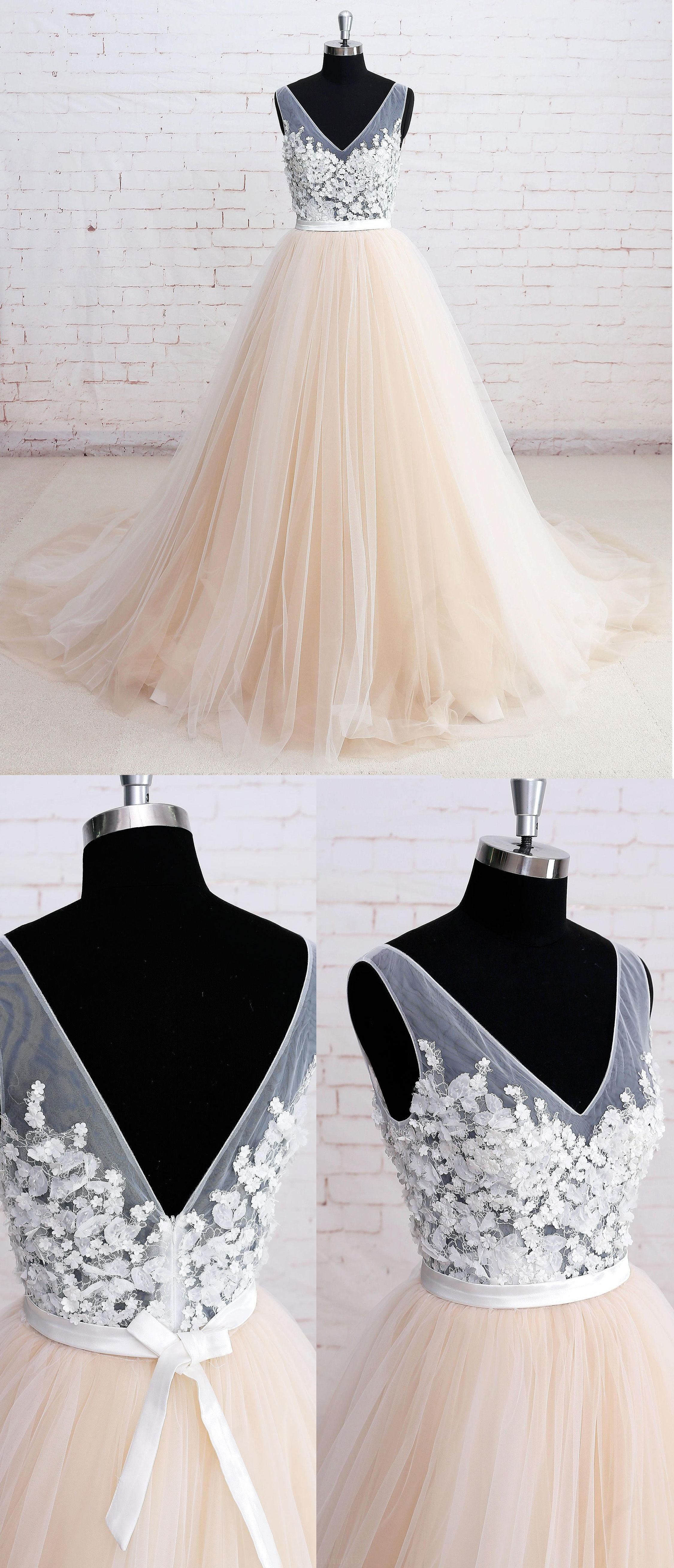 Discount sweep train evening prom dress long champagne dresses with