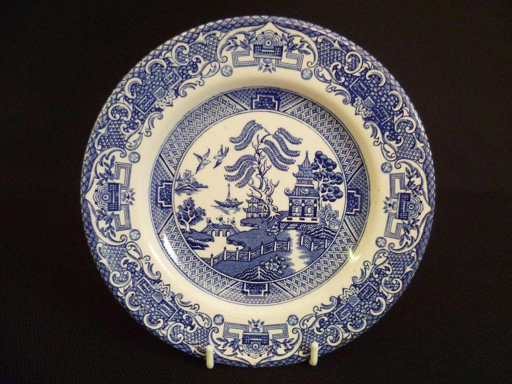 English Ironstone Tableware Old Willow Ltd Staffordshire England 17.5cm Side Plates Got one & English Ironstone Tableware Old Willow Ltd Staffordshire England ...