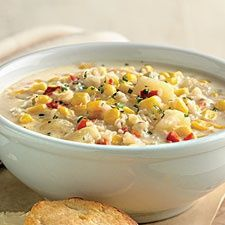 """A Weight Watcher's recipe for """"corn chowder""""....just what I've been looking for.  Can't wait to try this!  Too bad I'll probably need to skip the big ole hunk of cornbread to go with it!  lol..."""