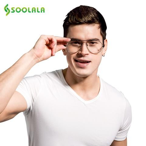 ce5819df39 SOOLALA Retro Memory Metal Frames Reading Glasses for men women Custom  Myopia Glasses Reader +1 +1.5 +2 +2.5 +3
