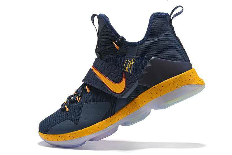667f5219930575 New LeBron James Shoes Cavs Color Cleveland Lebron 14 XIV Navy Gold ...