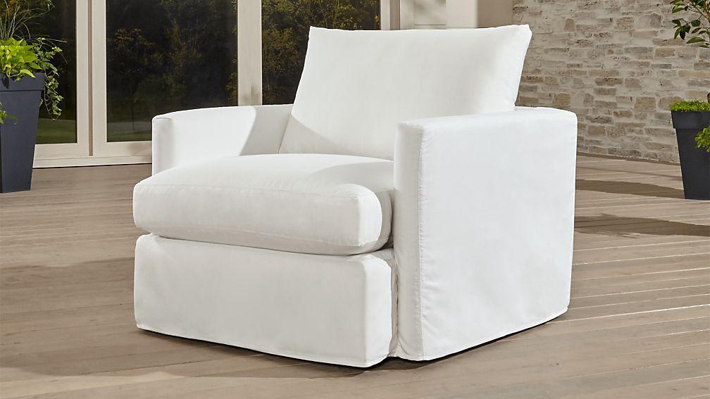 Crate U0026 Barrel Lounge II Petite Outdoor Slipcovered 360 Swivel Chair