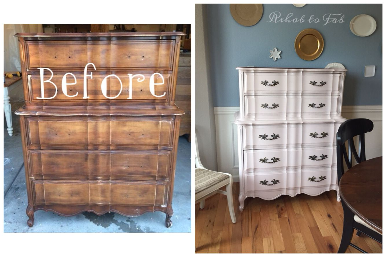 Rehab to fab transformed this french provincial with heirloom traditions chalk type paint in buff rose generalfinishes champagne pearl effects