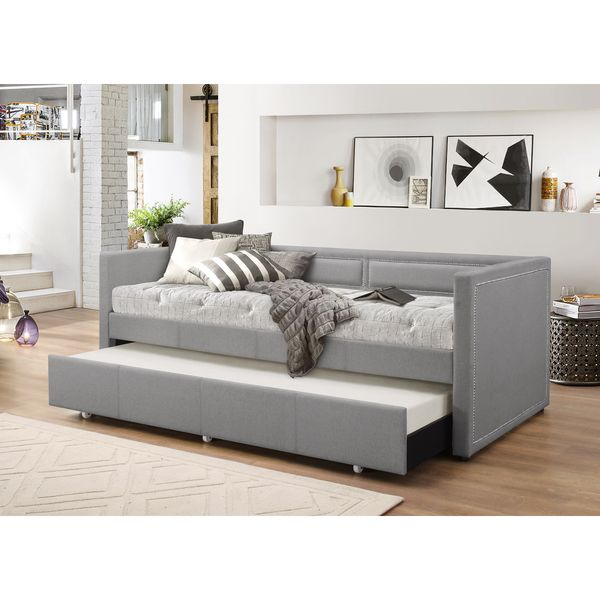 contemporary fabric daybed with trundle by baxton studio by baxton studio. Black Bedroom Furniture Sets. Home Design Ideas
