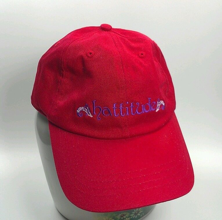 Get an Attitude! #Hattitude Red Purple Ball Cap Hat Womens Cotton NEW Adjustable strap back #RedHatters #Redballcap